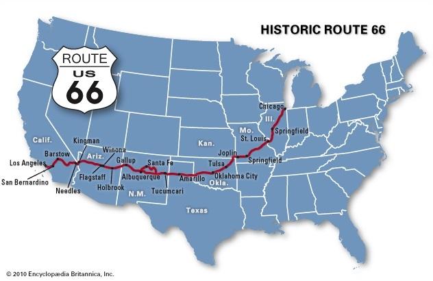 La Route 66 traverse huit états. Elle part de San Francisco, pour se terminer à Los Angeles.